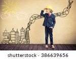 portrait of child builder in... | Shutterstock . vector #386639656