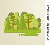 set of flat trees in a forest.... | Shutterstock .eps vector #386645626