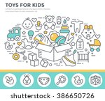toys and goods for baby concept ... | Shutterstock .eps vector #386650726