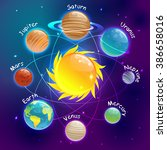 cartoons planets colorful... | Shutterstock .eps vector #386658016