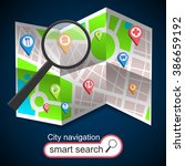 folded maps navigation with... | Shutterstock .eps vector #386659192