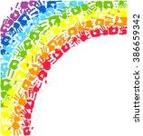 rainbow made from hands.... | Shutterstock .eps vector #386659342