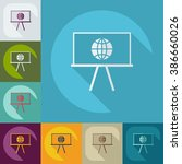 icons in a flat style globe on... | Shutterstock .eps vector #386660026