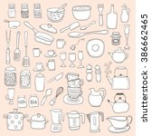 hand draw kitchen utensils... | Shutterstock .eps vector #386662465
