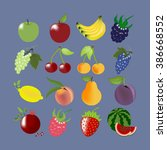 fruit icons set. apple. cherry. ... | Shutterstock .eps vector #386668552
