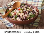 healthy food  rice with red... | Shutterstock . vector #386671186