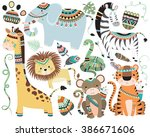 jungle tribal animals isolated... | Shutterstock .eps vector #386671606