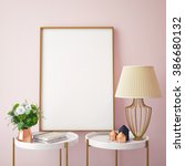 mock up poster frames in... | Shutterstock . vector #386680132