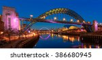 the tyne bridge at the blue hour | Shutterstock . vector #386680945