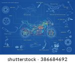 motorcycle structure parts.... | Shutterstock .eps vector #386684692