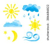 Set Of Watercolor Weather Icon...