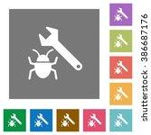 bug fixing flat icon set on...