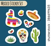 mexico bright sticker set with... | Shutterstock . vector #386699635