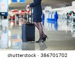 beautiful female passenger or... | Shutterstock . vector #386701702