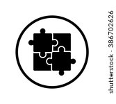 puzzle icon in circle . vector... | Shutterstock .eps vector #386702626