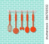 vector kitchen utensils in... | Shutterstock .eps vector #386703532