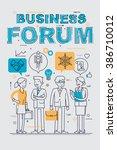 business forum event flat line... | Shutterstock .eps vector #386710012