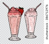 classic milkshakes with cream... | Shutterstock .eps vector #386712976