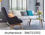 modern living room with modern... | Shutterstock . vector #386721352