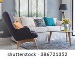modern living room with modern... | Shutterstock . vector #386721352