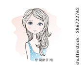 vector illustration of cute... | Shutterstock .eps vector #386722762