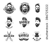 set of vintage barber shop... | Shutterstock .eps vector #386725222