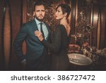 well dressed couple in luxury... | Shutterstock . vector #386727472