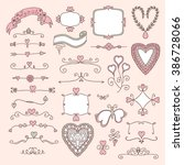 ornate pink frames and floral... | Shutterstock .eps vector #386728066