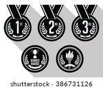 medals with ribbon. flat. set... | Shutterstock .eps vector #386731126
