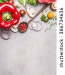 wooden spoon and healthy... | Shutterstock . vector #386734636