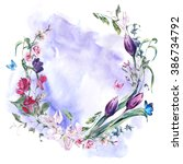 watercolor spring greeting card ... | Shutterstock . vector #386734792