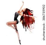 dancing ballerina  .watercolor... | Shutterstock . vector #386735902
