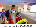 young adult man  passenger...   Shutterstock . vector #386737882