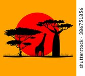 giraffes at sunset in savannah. ... | Shutterstock .eps vector #386751856
