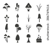 vector set of tree icons  park... | Shutterstock .eps vector #386769616