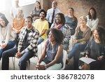 business team seminar listening ... | Shutterstock . vector #386782078