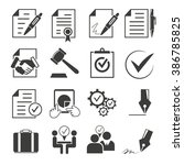 signing contract icons ... | Shutterstock .eps vector #386785825