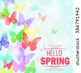 colorful butterflies background ... | Shutterstock .eps vector #386791942