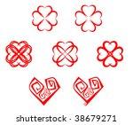 set of abstract heart symbols...