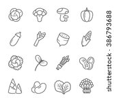 lines icon set   vegetable | Shutterstock .eps vector #386793688