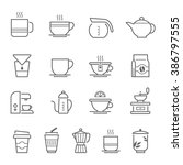 lines icon set   coffee and tea | Shutterstock .eps vector #386797555