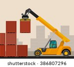 reach stacker with container... | Shutterstock .eps vector #386807296