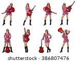 woman guitar player isolated on ... | Shutterstock . vector #386807476