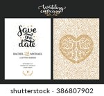 save the date cards  wedding... | Shutterstock . vector #386807902