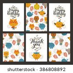 animal cards  happy birthday... | Shutterstock . vector #386808892