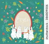 greeting card with four white... | Shutterstock .eps vector #386809006