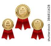 set of best seller golden label ...   Shutterstock .eps vector #386811628