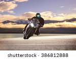 young bike man riding ... | Shutterstock . vector #386812888