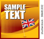 British Flag On Orange Halfton...