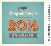 retro graduation card design... | Shutterstock .eps vector #386820592